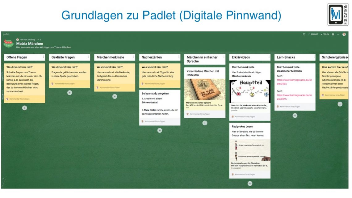 Grundlagen zu Padlet (Digitale Pinnwand) - Ein Tutorial von Marcus v ...